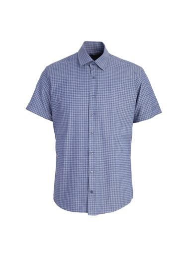Kiğılı Kısa Kol Desenli Slim Fit Gömlek Lacivert